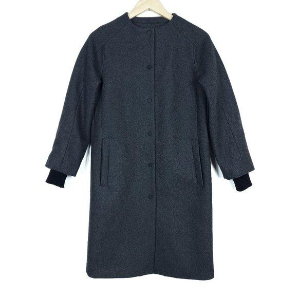Kate Spade Saturday Womens Coat XS Gray Wool Long Sleeve Sweater Sleeve Jacket